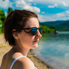 At the Danube by Martin Mák - People Portraits of Women ( sunglasses, sand, woman, sunshine, portraits, beach, brunette, river, portrait, girl, sunny, women,  )