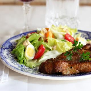 Spice Rubbed Pork Steak and Fresh Garden Salad Recipe