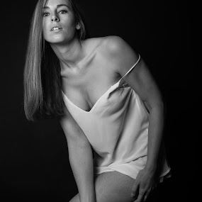 by Ton Hoelaars - Black & White Portraits & People ( boudoir, woman )