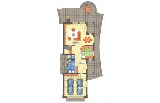Alicja wersja A z podwójnym garażem - Rzut parteru
