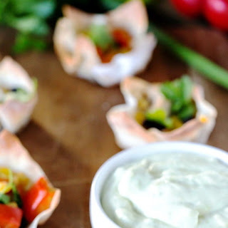 Southwest Chicken Wonton Cups with Avocado Lime Dipping Sauce