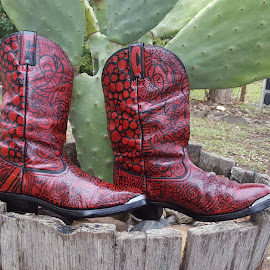 Caitibug the Ladybug Cowboy Boots by Colleen Flynn - Artistic Objects Clothing & Accessories ( cowboy boots, red boots, cocolaroo916, wearable art, ladybug,  )