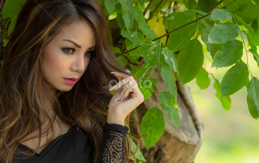the green... by Happy Sugianto - People Portraits of Women ( #beauty #model #woman #tree #hunting )