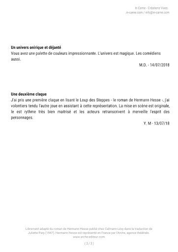 Retours publics Loup Des Steppes - In Carne
