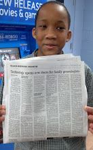 Photo: Jihad holds the newspaper issue w/ our article re TNGenWeb
