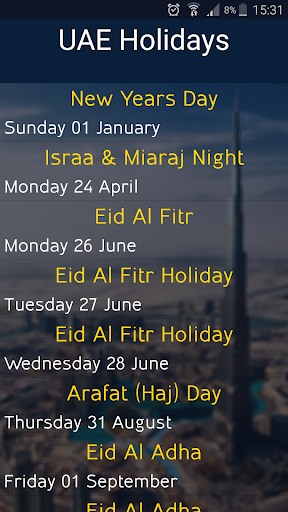 UAE Holidays 2017 screenshot 1