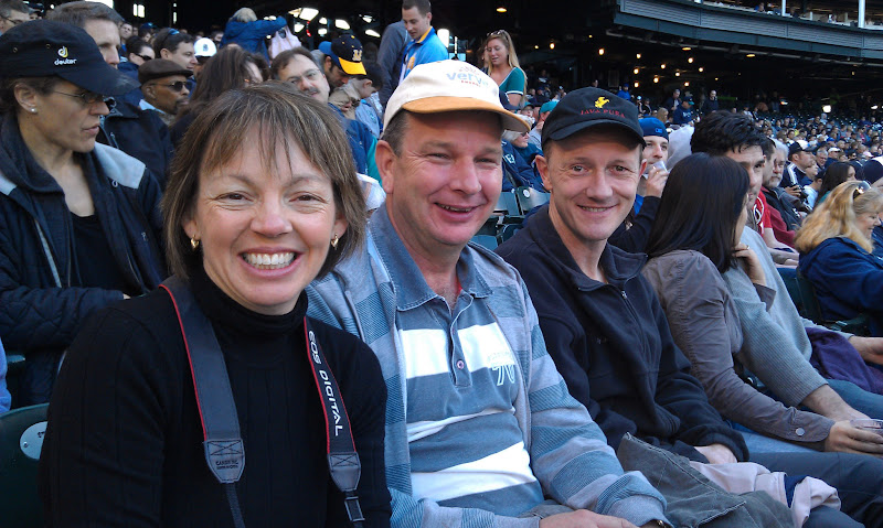Photo: Carol and Richard Muhl enjoying a M's game with Mark and Sandy