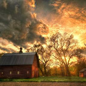 by DE Grabenstein - Landscapes Sunsets & Sunrises ( barns, nebraska, rural )