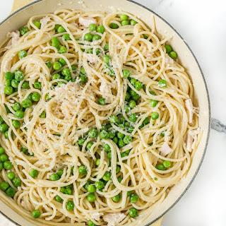 Spaghetti with Mascarpone Alfredo Sauce and Sugar Snap Peas.