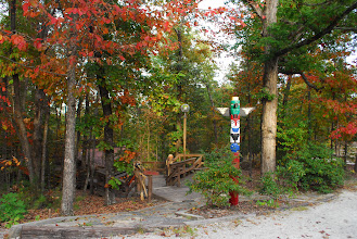 Photo: Totem Pole and stairway leading towards Tsani Dining Hall.