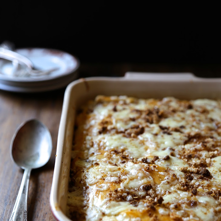 Double Layered Puff Pastry Reuben Casserole with Brown Butter Rye Breadcrumbs