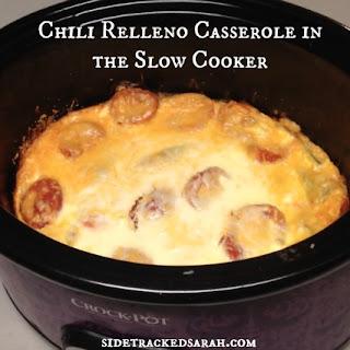 Chili Relleno Casserole Recipe in the Slow Cooker.