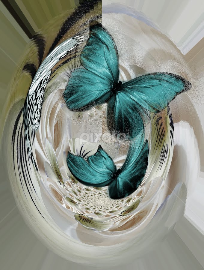 Flying together by Carmen Velcic - Digital Art Things ( butterfly fly green abstract digital color )
