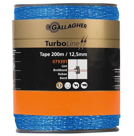 Elband 12,5 mm Gallagher Turboline Blå 200 meter. 0,09 Ohm/m