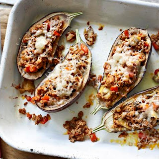 Lamb-stuffed aubergines with Moorish spices and Manchego cheese.