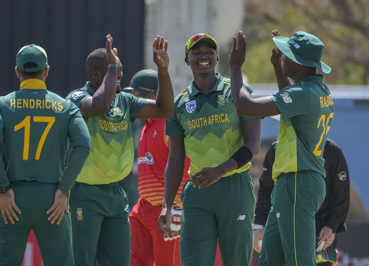 South Africa celebrating during the first Momentum ODI match between South Africa and Zimbabwe at Diamond Oval in Kimberley on 30 September 2018.