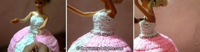 decorate the dolls dress with silver beads for making doll cake recipe