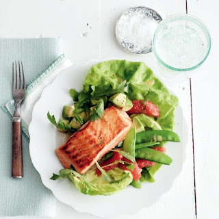 Seared-salmon Salad With Ruby Grapefruit And Snow Peas