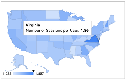 Geo map example: sessions per user for US states