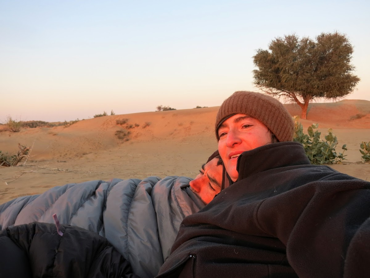 India. Rajasthan Thar Desert Camel Trek. Watching the sunrise