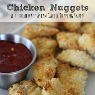 Baked Parmesan Chicken Nuggets with Asian Dipping Sauce.