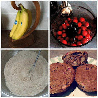 Whole Wheat Banana Apple Cranberry Muffins