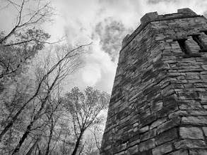 Photo: Black and white photo of a stone tower at Hills and Dales Metropark in Dayton, Ohio.