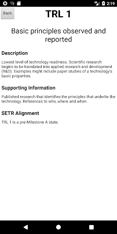 Technology Readiness Levels Screenshot