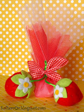 Photo: Μπομπονιέρα Φράουλες. Διαστάσεις Μεγάλης Φράουλας 6 x 4 εκατοστά. Διαστασεις Μικρής Φράουλας 4,5 x 3,5 εκατοστά.