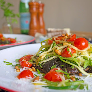 Roasted Portabella Topped with Cherry Tomatoes & Zucchini Ribbons Recipe
