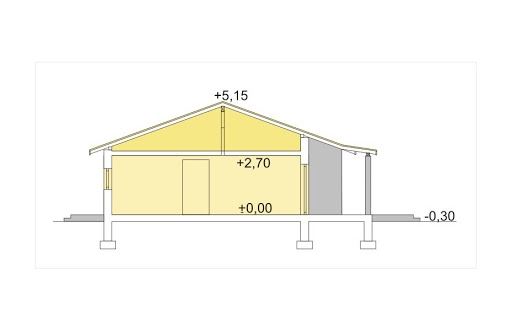 Antek wersja C z podwójnym garażem paliwo stałe - Przekrój