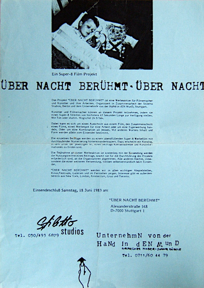 "Photo: Original-Plakat/Einladung zum Super-8 Filmprojekt ""ÜBER NACHT BERÜHMT"" Fotokopie DIN A3/A4 ©Hannelore Kober & Jonnie Döbele 1983 all rights reserved"