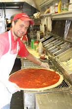 """Photo: Unlike many chains, here at Pino`s Pizza, I have trained my employees to be generous with my home-made sauce.  Why make it so good, and then not give you enough?  You will see that we are automatically generous with our pizza sauce distribution.  You never have to ask for extra sauce or extra cheese at Pino`s.  ---- Pino`s Pizza ---- Call 410-723-FAST (3278)  81st street Coastal Highway 10 minute Carry-out,  or express door-to-door room service delivery  to all hotels rooms, motel rooms, condo, home, moble homes, & stores in Ocean City.  We do not deliver to the beach, to a bar, or to an amusment park.  Some people say like deliver it to a certain """"area"""" that they will wait for the driver. No we do not do that for security reasons, and because we can not estimate when it will get there.  We need the person to be inside a residence or motel rooom only."""