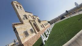 El monumento, que imita la fachada del Santuario del Saliente, a la entrada de Albox.