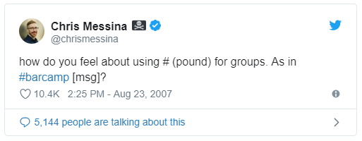 The first tweet using a hashtag by Chris Messina.