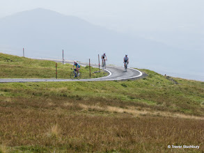 Photo: Cyclists Approaching the Summit of Great Dun Fell (2782 ft)