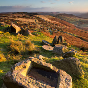 Industrial wasteland by Neil O'Connell - Landscapes Mountains & Hills ( edge, autumn, stanage millstones, stanage, sunset, carving, stones )