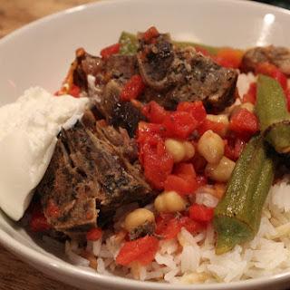 Lamb Okra Chickpea Stew aka Bamyali Nohutlu Kuzu Et