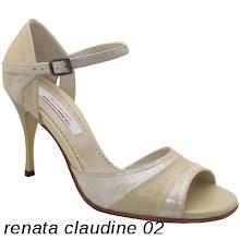 Photo: Stransfer champagne & cuir camel clair - Talon acrylique bobine fin 8 cms. www.raquel-shoes.com