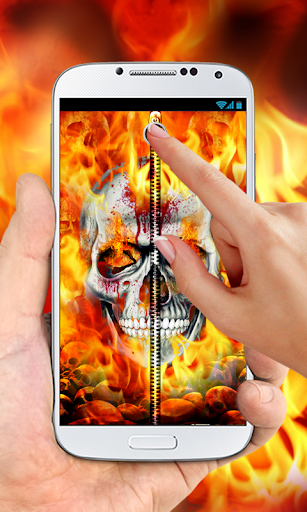 Skull Zipper Lock Screen