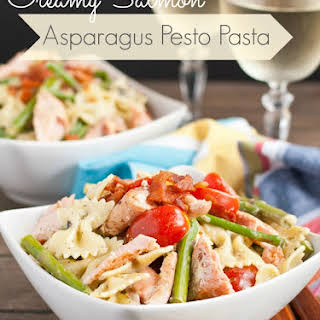 Creamy Salmon Asparagus Pesto Pasta.