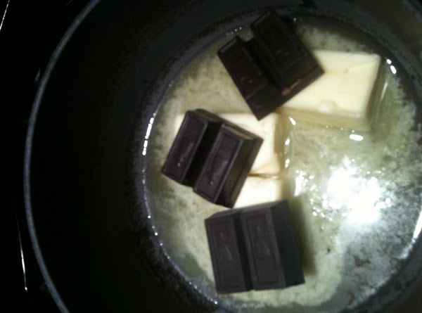 Melt butter and chocolate squares in saucepan over medium heat.  Remove from heat...