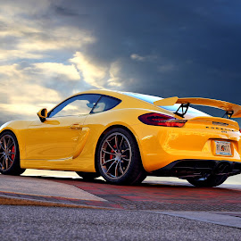 GT4 by JEFFREY LORBER - Transportation Automobiles ( porsche, jeffrey lorber, rust 'n chrome, yellow car, yellow, lorberphoto, sports car )