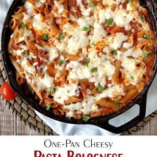 One-Pan Cheesy Pasta Bolognese.