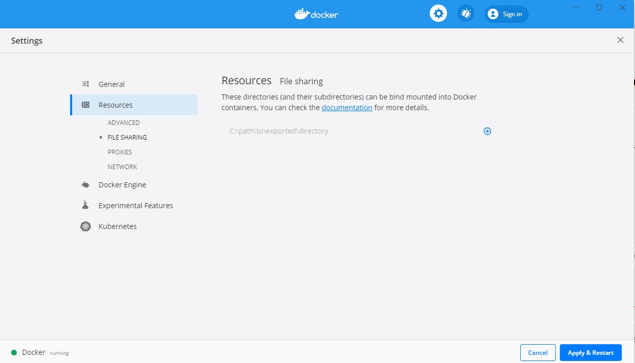 image of the Docker folder access