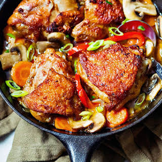 One Skillet Chicken with Garlic Cajun Sauce.