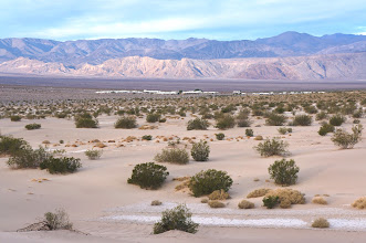 Photo: Friday morning I hiked from Stovepipe Wells campground back to Mesquite Flats Sand Dunes.  This is the view west from the dunes toward the Panamint Range, with Stovepipe Wells in the center.