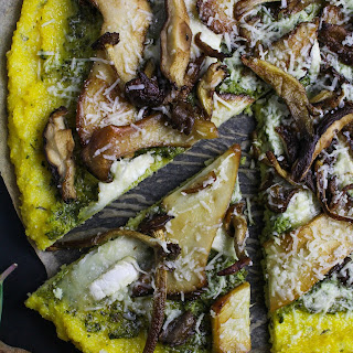 Polenta Pizza with Wild Mushrooms and Ramp Pesto Recipe