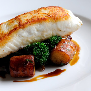Pan-fried Halibut With Wild Mushrooms And Gnocchi.