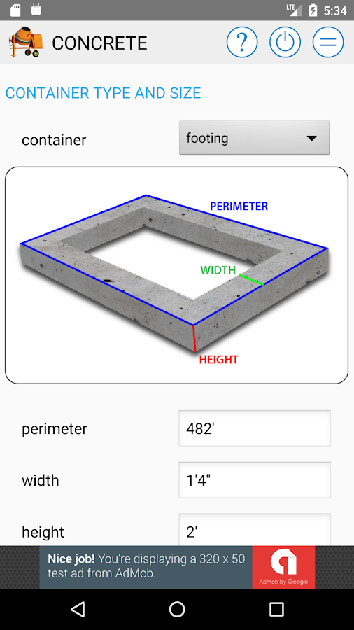 Concrete Calculator- screenshot